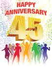Forty-fifth anniversary. Colorful crowd of dancing people celebrating forty-fifth anniversary Royalty Free Stock Photography