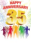 Thirty-fifth anniversary. Colorful crowd of dancing people celebrating thirty-fifth anniversary Royalty Free Stock Photo