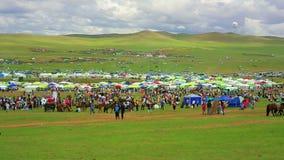 Colorful crowd at Naadam festival area Stock Photo