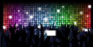 Colorful crowd of party people silhouettes background Royalty Free Stock Photos