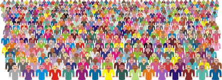 Colorful Crowd of People Vector stock photo