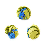 Colorful crumbled paper ball isolated Royalty Free Stock Photography