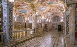 The colorful Crypt in the Duomo of Salerno, Campania, Italy. royalty free stock photo