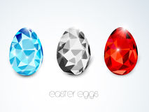 Colorful crystal eggs for Happy Easter celebration. Royalty Free Stock Images