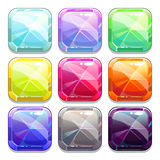 Colorful crystal square buttons. Isolated app icons vector illustration