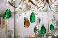 Colorful crystal strass lamp detai. L macro stock photography
