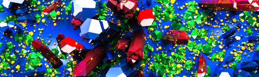 Colorful Crystals and Stones Background. 3d illustration royalty free illustration