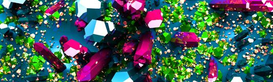 Colorful Crystals and Stones Background. 3d illustration vector illustration