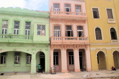 Colorful Cuban houses. Restoration of colorful buildings in Havana Cuba Stock Photo