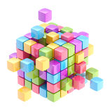 Colorful cube abstract background. Colorful glossy cube abstract background isolated on white Royalty Free Stock Images