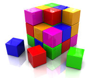 Colorful cube assembling Royalty Free Stock Photo