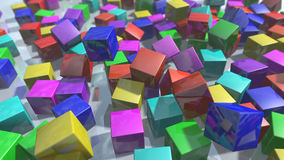 Colorful cube blocks particles. 3D rendering. 3d rendering of colorful particles blocks. Cube shapes in a variety of colors spread on a white background Vector Illustration