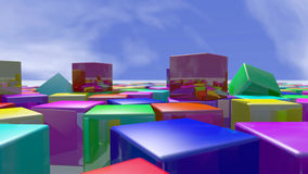 Colorful cube blocks piled up. 3D rendering. 3d rendering of colorful particles blocks. A close up of cube shapes in a variety of colors spread on a white stock illustration