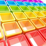 Colorful cube cell composition as abstract background. Abstract background made of colorful rainbow colored glossy cube cell composition stock illustration