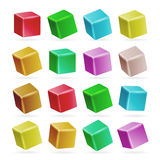 Colorful Cube 3d Set Vector. Perspective Empty Models Of A Cube Isolated On White. Playing Child Toys. Colorful Cube 3d Set Vector. Perspective Empty Models Of A Royalty Free Stock Photography