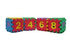 Colorful cube puzzle of even numbers Royalty Free Stock Image