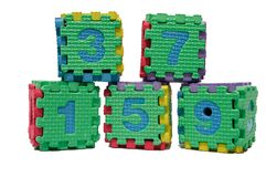 Colorful cube puzzle of odd numbers. Isolated on white background Royalty Free Stock Photos