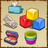 Colorful cube set and tools of the first grader. Five vector image Stock Photos