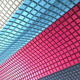 Colorful cube walls. 3d render abstract pink, blue, silver and chrome cubes Royalty Free Stock Image