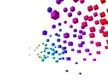 Colorful cubes. 3d rendered illustration of falling colored cubes on a white background stock illustration