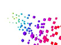 Colorful cubes. 3d rendered illustration of falling colored cubes on a white background vector illustration