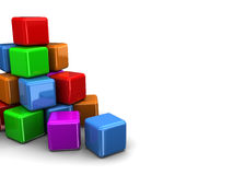 Colorful cubes. 3d illustration of colorful cubes background with copy space Royalty Free Stock Photography