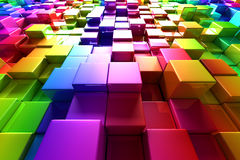 Colorful cubes. Shiny colorful cubes - 3D render Royalty Free Stock Photos