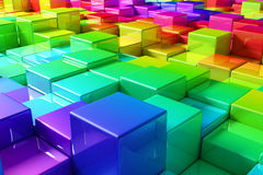 Colorful cubes. Rainbow of cubes - 3D render Royalty Free Stock Image