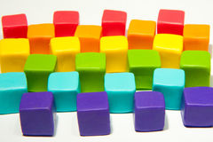 Colorful cubes. With paste on isolated background Stock Image