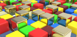 Colorful cubes. Colorful plastic and golden cubes, perspective view Stock Photos
