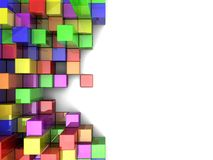 Colorful cubes. Colorful  digital cubes over white background Stock Photos