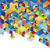 Colorful cubes. Geometric abstraction stack of blue and multicolored cubes Stock Photography
