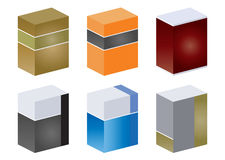 Colorful Cubes. Graphic of six blocks with a different color theme and pattern Royalty Free Stock Image