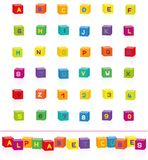 Colorful Cubes Alphabet Letters Numbers Font. Colorful alphabet cubes with letters and numbers to select and put together. Isolated vector illustration on white vector illustration