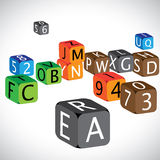 Colorful cubes of alphabets and numbers Royalty Free Stock Photos