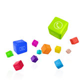 Colorful cubes with app icons on white background Stock Photography