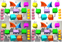 Colorful cubes with arrows 3D. Four versions, colored, colorful cubes, which can apply its label, arrow, two pyramids, with inclined end, white, gray, dark grey Royalty Free Stock Images