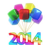 Colorful cubes Balloons New Year 2014. 3d render Colorful cubes Balloons New Year 2014 (isolated on white and clipping path Royalty Free Stock Image