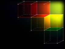 Colorful cubes on black background. Modern style Stock Images