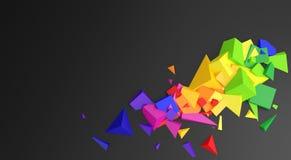 Colorful cubes on black decorative background. Colorful cubes on a black, solid background, in the shape of a decorative corner. 3d illustration Vector Illustration