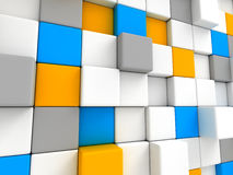 Colorful Cubes Blocks Wall Background. 3d Render Illustration Stock Photos