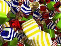 Colorful cubes or bonbons on white. Colorful cubes or bonbons over white background Stock Images