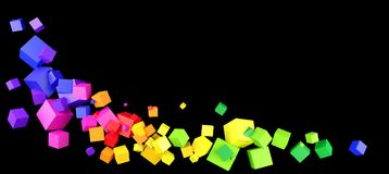 Colorful cubes border on black. Border design of colorful floating cubes on a black background. 3d illustration Stock Images