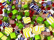 Colorful cubes or candies isolated. Over white background Royalty Free Stock Photos