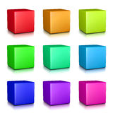 Colorful Cubes Collection. On White Background 3D Illustration Stock Images