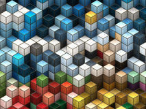 Colorful cubes. Colorful 3d cubes, boxes abstract design background Royalty Free Stock Photos