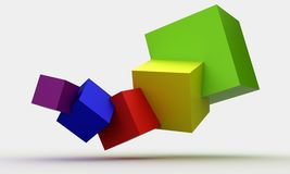 Colorful cubes 3D. With shadow on gray background Royalty Free Stock Image