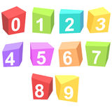 Colorful cubes digits Stock Images