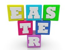 Colorful cubes with Easter concept on white. In backgrounds Royalty Free Stock Photo