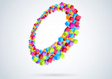 Colorful cubes form a ring - perspective Stock Photo